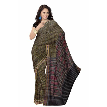 OSS7461: New design Black Ikat(Tie and Dye) Handloom cotton saree gift your mother