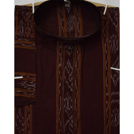 OSS618: Ikat design deep maroon colour hand woven cotton kurta for Men