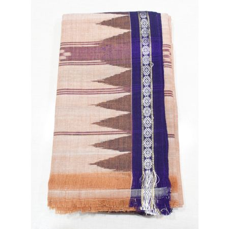 Brown With Deep Blue Color Combination Of Handloom Temple Design Towel Of Sambalpur, Odisha AJ001757