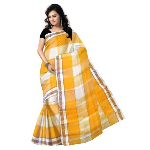 OSSWB9005: Yellow with White Handwoven cotton sarees of West Bengal.