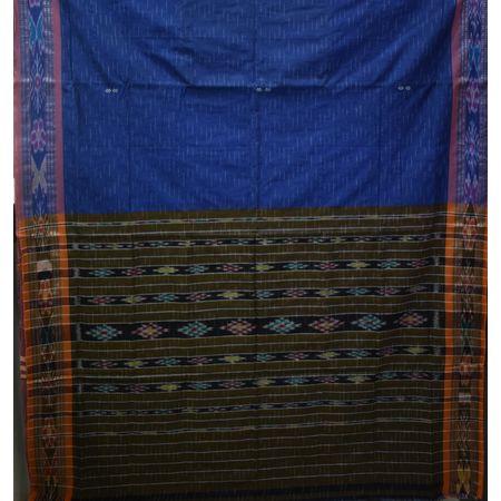 AJ001156: Navy Blue with Green Handloom Ikat Cotton Saree of Odisha