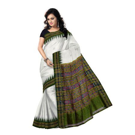 OSS5044: Butti design white colour Sambalpuri silk saree