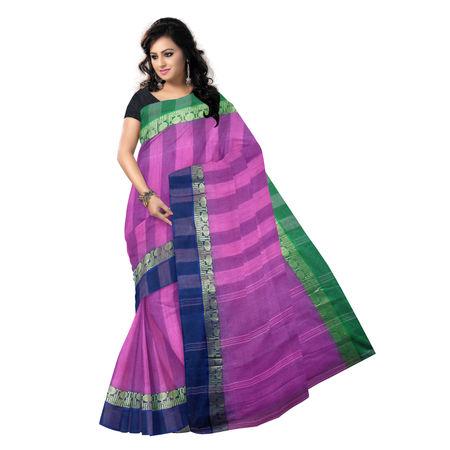 OSSWB9016: Light Pink Handwoven Cotton saree of West Bengal