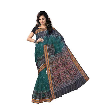 OSS461: Green color Handwoven laxmi feet design cotton sarees of odisha for festival wear
