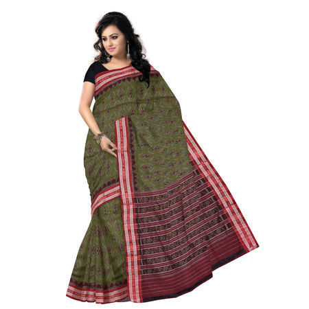 OSS7405: Green Ikat design handmade tant cotton saree of odisha