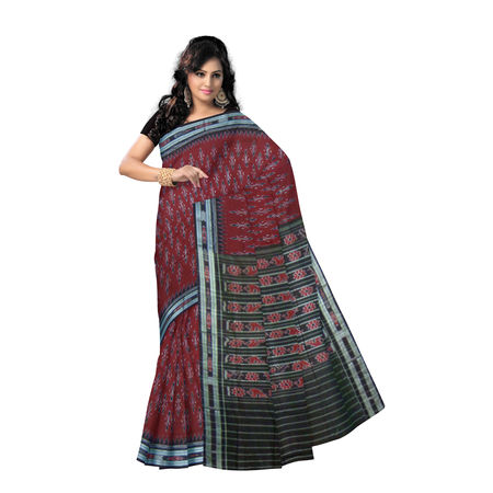 OSS242: Unique handloom Design Cotton Saree., maroon