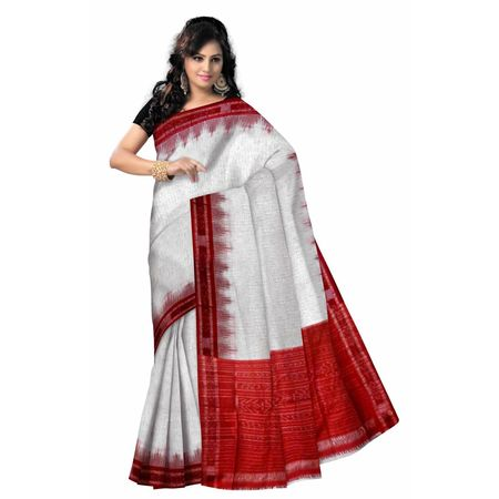 OSS7006: White with Red combination Handwoven cotton sarees for puja wear