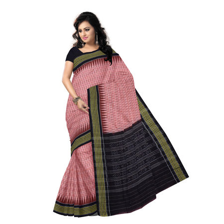 OSS047: Light Chocolate Ikat design hand woven cotton saree