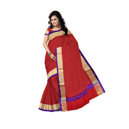 Red Handwoven Kota Doria Cotton saree AJ000097