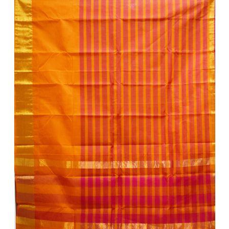 Maroon With Orange Colour Check Design Cotton Silk Saree of Telangana AJ001670
