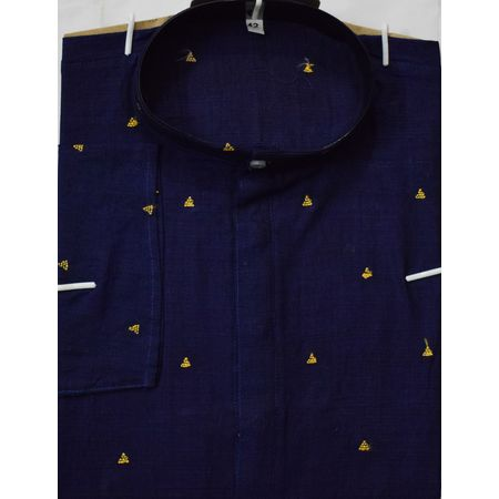 OSS612: Pure Cotton Butti design Navy Blue Kurta for Men's ethnic partywear