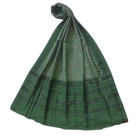 OSS109: Grey with Light sea Green handloom cotton Dupatta