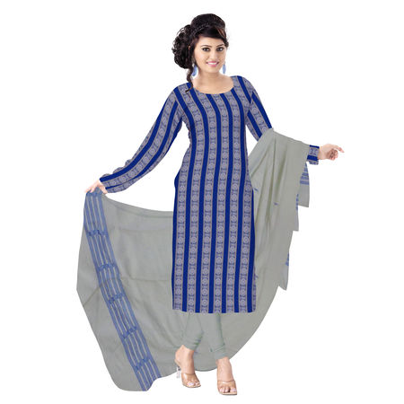 OSS1041: Beautiful Traditional Dark Sky Blue & White Traditional Ikat(tie & dye) cotton Dress Material