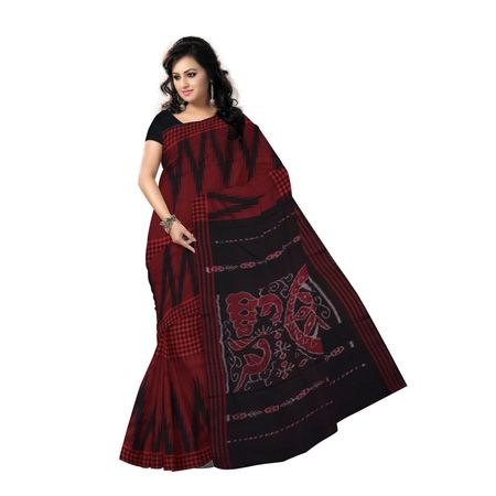 Kargil Design Red Ikat Handloom Cotton Saree of Odisha Sambalpur OSS7015