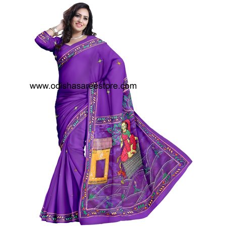 OSS20036: Voilet color Famous Patachitra Saree of India