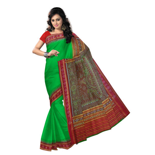 OSS031: Green with Red Pasapalli border Silk Sari of India