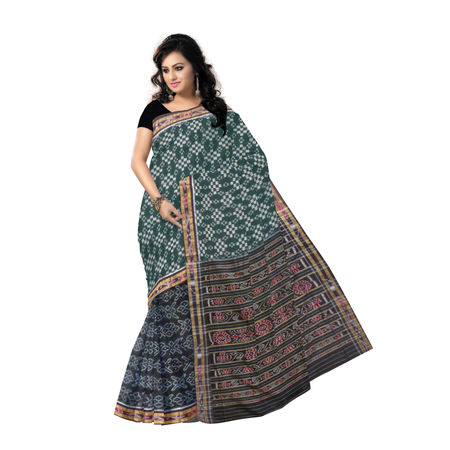 OSS9098: Handwoven Sambalpuri Ikat Cotton Saree in Deep Green with Black.