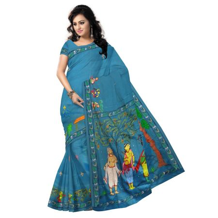 OSS300092: Blue color handpainted patachitra Synthetic silk saree online shopping