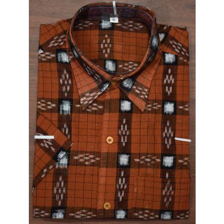 Handloom Sambalpuri Cotton Half Shirt in Brown Pasapalli AJ001188