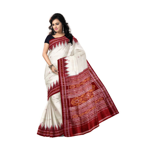 OSS5125: Off White-Maroon combination buti design Silk Saree