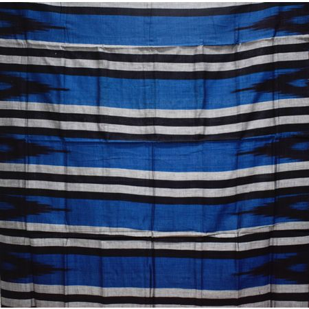 Kargil Design Warm Blue With Black Handloom Cotton Saree of Odisha, Nuapatana AJ001556
