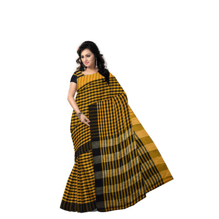 AJ000157: Yellow With Black Handloom Kusum Dola West Bengal cotton saree with Blouse Piece