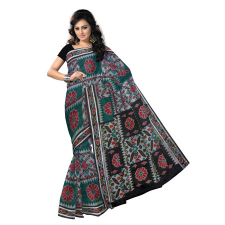 OSS234: Exclusive Multicolor & Black Traditional Design (Tie & Die) Handwoven Cotton Saree