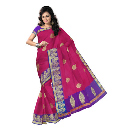 OSSUP100: Traditional Handwoven Pure pink Silk Cotton banarasi saree for party wear.