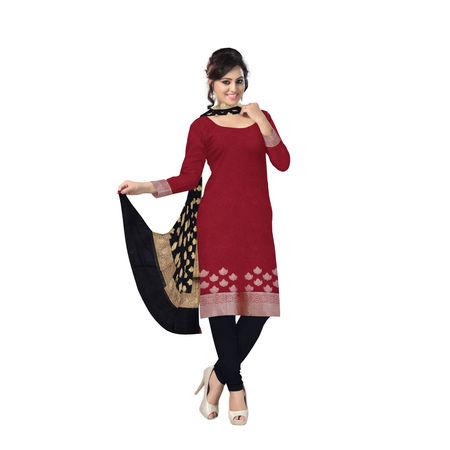 OSSUP105: Red and Black Banarasi Silk Dress Material.
