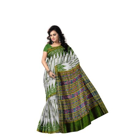 White with Green Ikat Handloom Silk saree of Odisha Nuapatna AJ001300