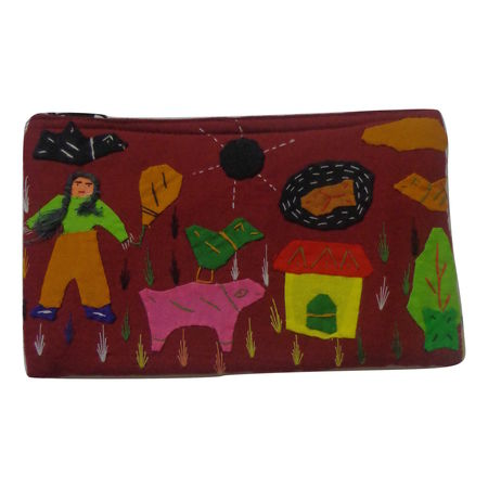 OHA075: Pipili Patch Handcrafted Maroon Purse.
