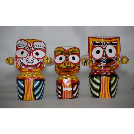 OHW009: Wooden Handicraft Of Lord Jagannath, Balabhadra and Goddess Shubhadra.