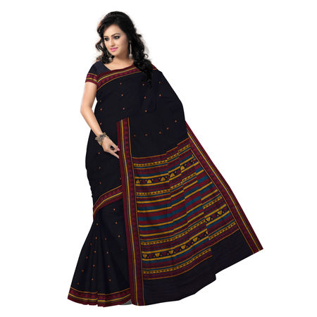 OSS9123: Natural weave Black Dongria Cotton Saree for Gift