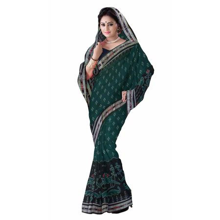 OSS7307: Soft Green Cotton handloom cotton sadhi of sambalpur.