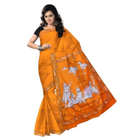 OSS300120: Orange color Handpainted Synthetic Silk saree for bridal wear.