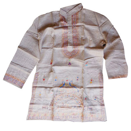OSS300018: Tusser Handpainted Patachitra kurta for men for festival wear