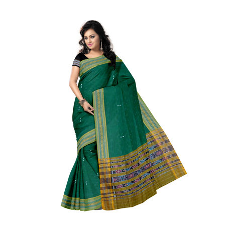 OSS9113: Green Jharana Buti design Sambalpuri Cotton Saree