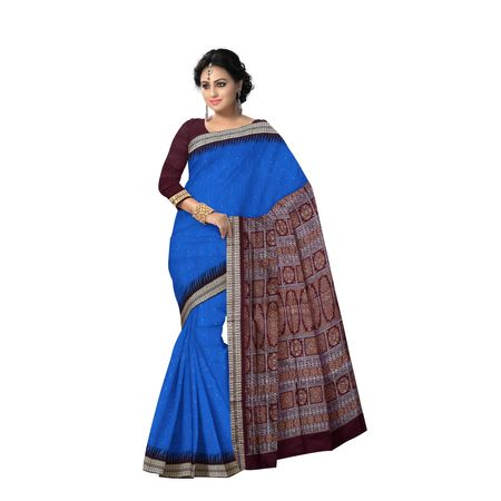 AJ000128: Beautiful Blue with Maroon Handloom Sonepur Bomkai Silk saree with Blousepiece.