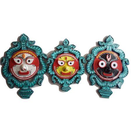 Handmade Lord Jagannath, Balabhadra, Subhadra Wooden Crafts made in Odisha Raghurajpur Puri AJ001615