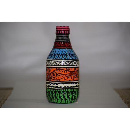 OHP084: Paper mache Tribal handicraft design on bottle.