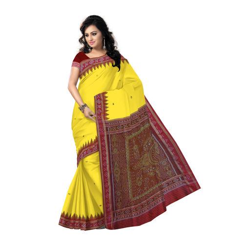 OSS5162: Yellow with Red handloom sambalpuri pasapalli Silk Saree.