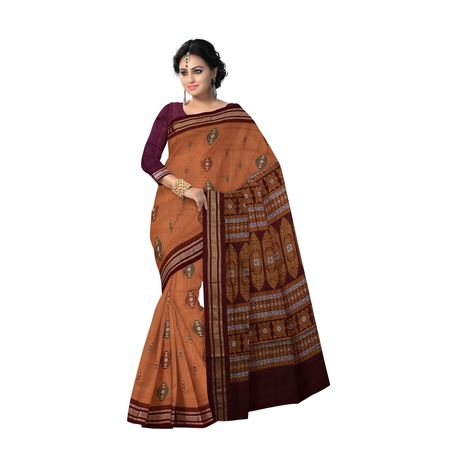 AJ000122: Brown with Maroon Handloom Bomkai Cotton saree with Blousepiece