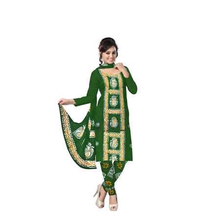 Batik Printed Cotton West Bengal Unstiched Ladies Dress Material AJ001143