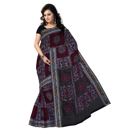 OSS7485: Handmade maroon-ash cotton sari with beautiful flower design