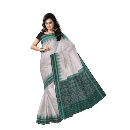 Jharana Design White Ikat Handloom Cotton Saree of Odisha Sambalpur OSS194