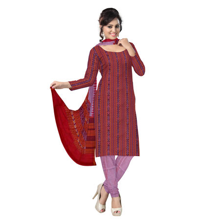 OSS1028: Beautiful Traditional Dark Red & Light Dark Red Traditional Ikat(tie & dye) Cotton Dress Material unstiched Piece