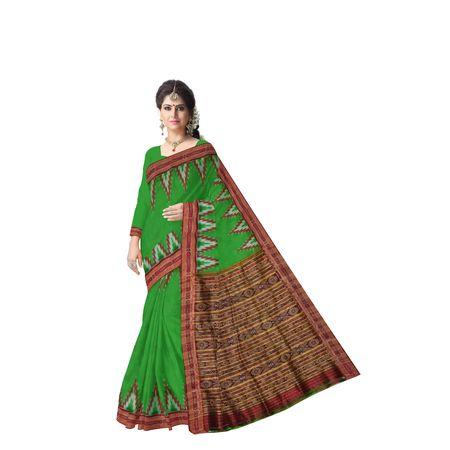 Temple Design Green With Red Handloom Silk Saree Of Odisha AJ001389