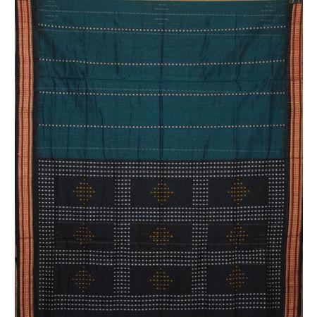 Green with Black Handloom Line Butti Design Cotton saree AJ001214