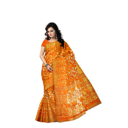 Deep Orange With Golden Handloom Dhakai Jamdani Cotton Saree Of West Bangal AJ001460