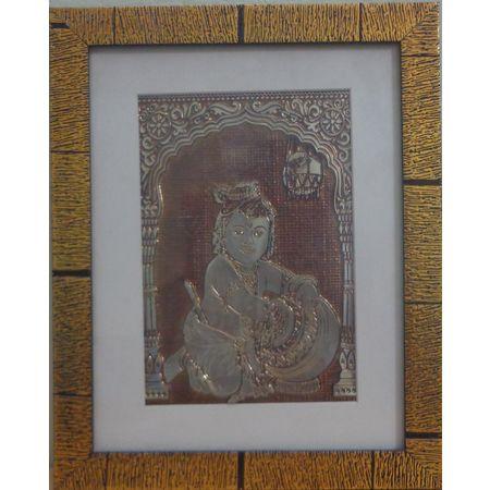OSS400001: Handmade Wall Hanging Aluminium foil Little lord Krishna design